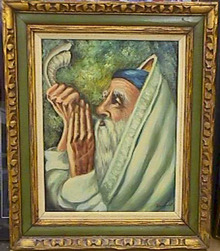 Bosnovich Blowing Shofar Judaica Oil Painting