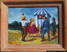 Liz Nicholls Punch and Judy Oil Painting