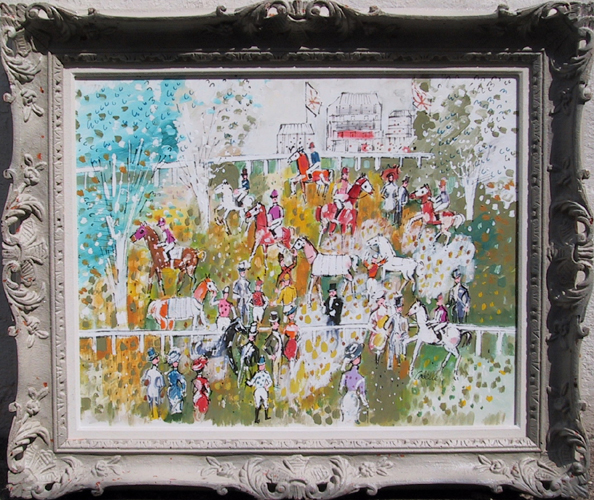 Charles Cobelle, Horse Race, Oil Painting