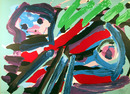 Karel Appel Lithograph, Walking with my Bird