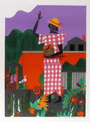 Romare Bearden, Girl in the Garden, Lithograph