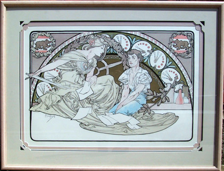 Alphonse Mucha, Framed Lithograph, Heavenly