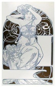 Alphonse Mucha, Lithograph, Handmaiden
