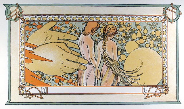 Alphonse Mucha, Lithograph, Hands of God