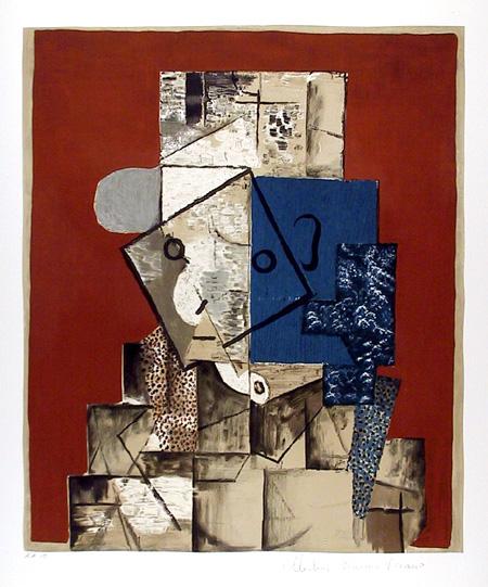 Pablo Picasso, Lithograph, Visage sur Fond Roug