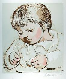 Pablo Picasso Lithograph, Enfant Deieunant