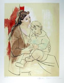 Pablo Picasso Lithograph, Maternite au Rideau