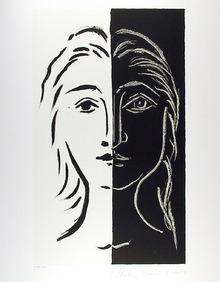 Pablo Picasso Lithograph, Portrait en Deux Part