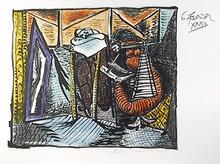 Pablo Picasso Lithograph,  Femme Dessinant