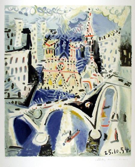 Pablo Picasso Lithograph, Notre Dame