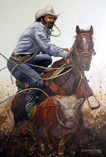 Frances James Western Oil Painting c1950
