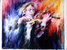 Leonid Afremov, Russian Painting, Violin Player