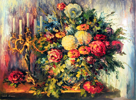 Leonid Afremov, Russian Oil Painting, Flower