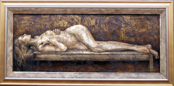Bill Mack Large Relief Painting, Reclining Nude