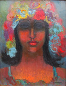 Miriam Bromberg, Flower Portrait, Oil on Board