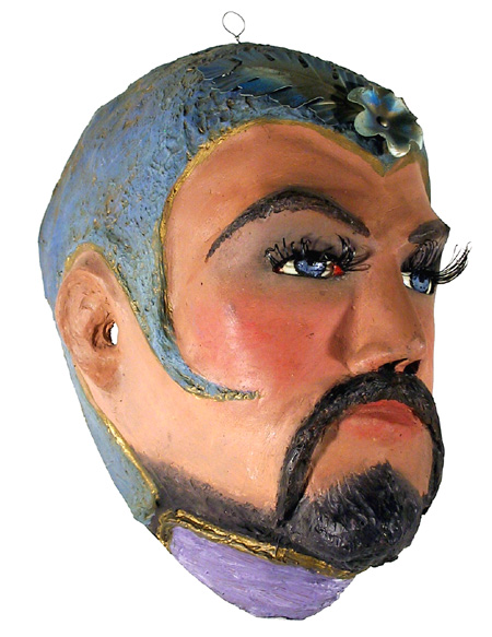 Hand-painted Papier Mache Circus Mask 1945