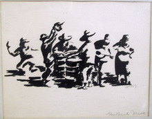 Mares, Original Ink on Paper, Steel Band Music