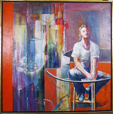 Benjamin Silva, Acrylic on Canvas Painting, Girl on the Balcony