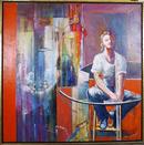 Benjamin Silva, Acrylic on Canvas Painting, Girl on the Balcony