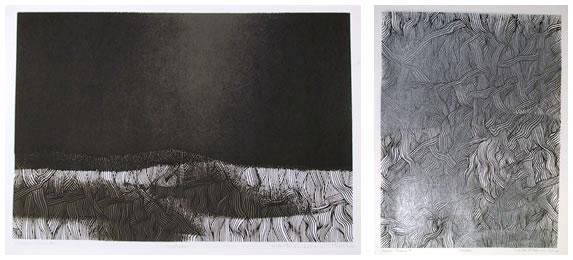 Walter Feldman S/N Woodcut Print, Masada