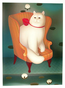 Igor Galanin, White Cat in Wing Chair, Serigraph