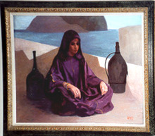 Alfieri Oil Painting, Woman in Purple, c. 1970
