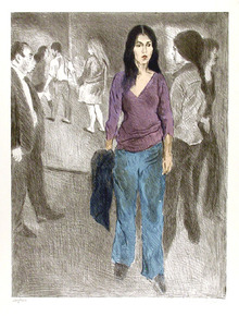 Raphael Soyer, Passing By, Lithograph