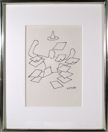 Mark Kostabi Magic Marker on paper drawing