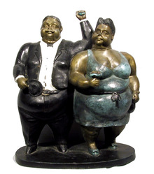 Bruno Luna Mexican Bronze Sculpture Botero-like