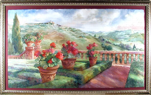 Ruth Baderian Watercolor Painting, Landscape
