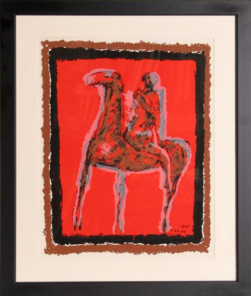 Marino Marini 1955 Framed Lithograph Horseman