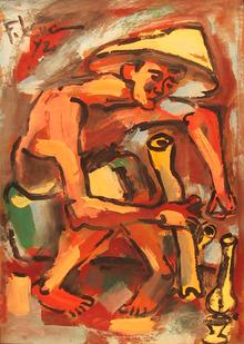 Pham Luc, Smoker, Arylic Painting