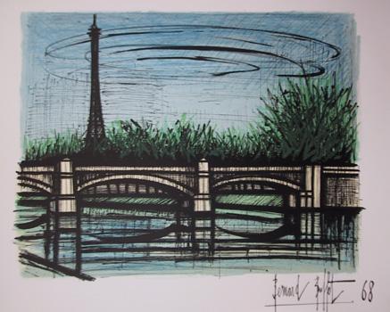 Bernard Buffet, Lithograph Bridge 1968