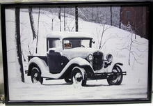 Joseph Michetti Oil on Canvas, Car in Snow