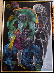 Mihail Chemiakin, large Original Pastel Drawing