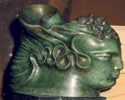 Rebekka Chemiakin, Bronze Sculpture, Face, 1979
