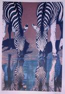 Fran Bull, Zebras Drinking Water, Serigraph