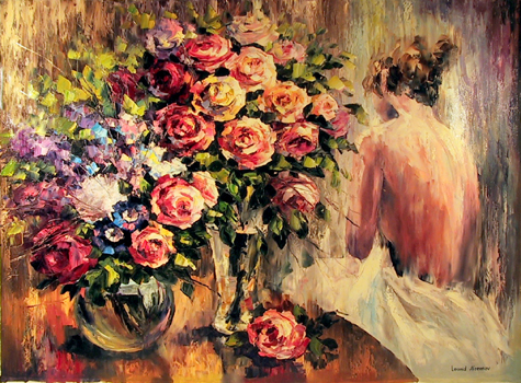 Leonid Afremov Oil Painting, Flowers, Girl