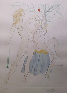 Salvador Dali, Adam and Eve, Color Etching