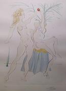 Salvador Dali, Adam and Eve, Color Etching