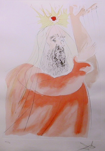 Salvador Dali, King David, Color Etching