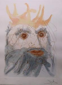 Salvador Dali, King Saul, Color Etching