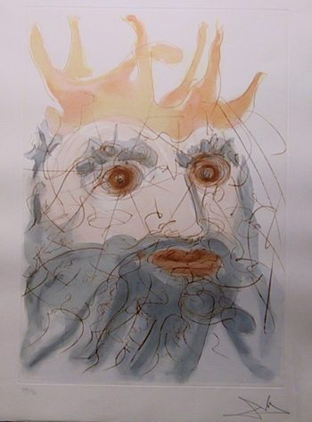 Salvador Dali, King Saul, Color Etching