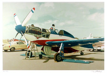 Tom Blackwell, Serigraph, Mustang Airplane