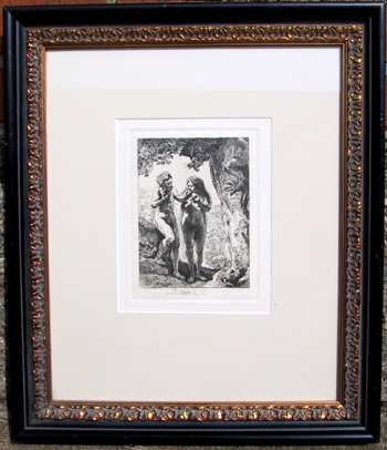 Rembrandt Etching, Adam and Eve