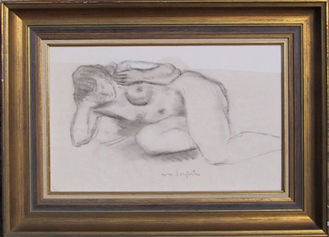 Moses Soyer Framed Drawing, Nude