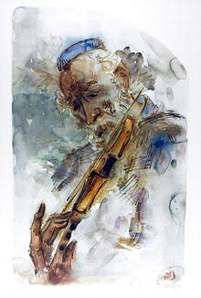 Chaim Gross S/N Lithograph, The Fiddler