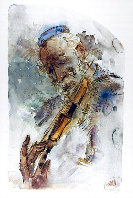 Chaim Gross S/N Lithograph, The Fiddler