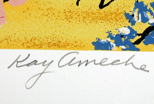 Kay Ameche, Blair's Corner Lithograph, Folk Art