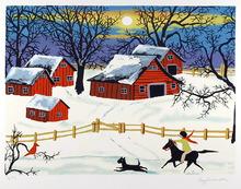 Kay Ameche Serigraph, Barn, Folk Art